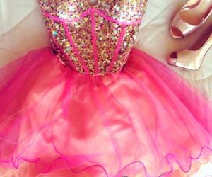 pink dresses, prom dresses, and short dresses image