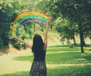 girl, rainbow, and nature image