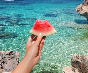 summer, ocean, and watermelon image