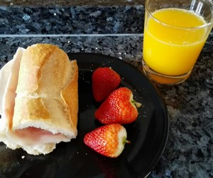 breakfast, juice, and strawberry image