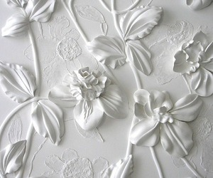 white, flowers, and art image