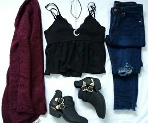 cardigan, heels, and jeans image