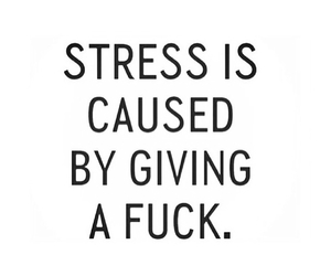 stress, giving a fuck, and is caused by image