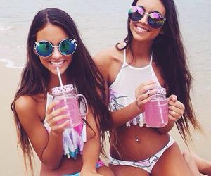 bikini, brunette, and girl image
