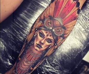 tattoo, art, and owl image