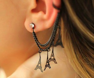 black, earrings, and eiffel tower image