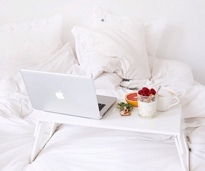 breakfast, white, and bed image