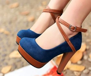 beauty, high heels, and blue image
