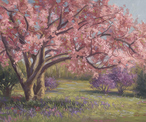 art, painting, and spring image