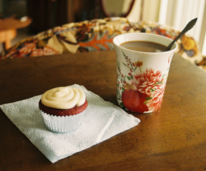 cupcake, hot ​chocolate, and muffin image