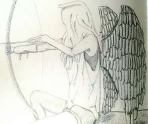 angel, black and white, and bow and arrow image
