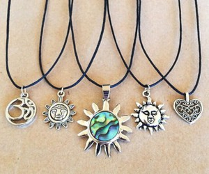 necklace, sun, and grunge image