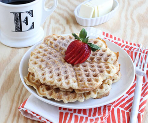 coffee, strawberries, and waffles image