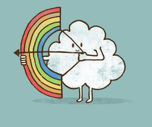 rainbow, clouds, and wallpaper image
