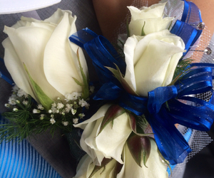 blue, corsage, and Prom image