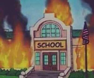 school, fire, and grunge image