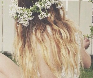 blond, flower, and white image