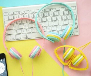 music, pink, and earphones image