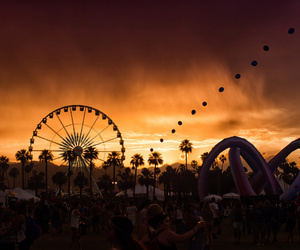 sunset, coachella, and festival image