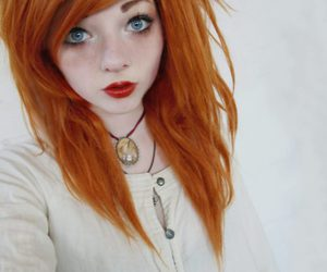 hair, red hair, and blue eyes image