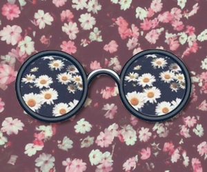 flowers, glasses, and wallpaper image