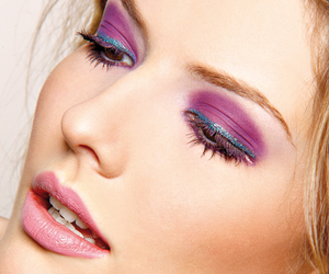 blonde, girl, and purple shadow image
