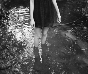 black and white, skirt, and water image