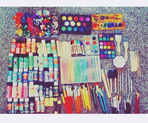 colored pencils, watercolor, and art supplies image