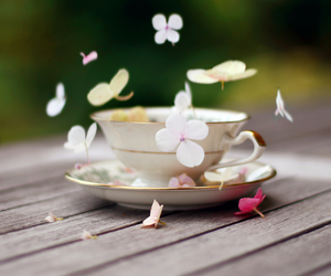 flowers, cup, and tea image
