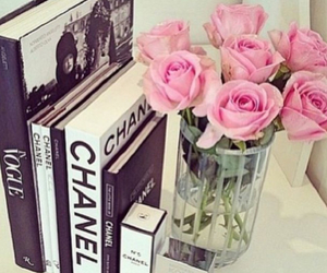 chanel, book, and flowers image