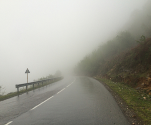 fog, landscape, and mountains image