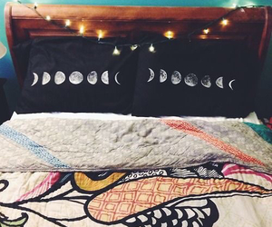 light, moon, and bed image