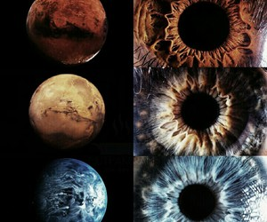 eyes, blue, and planet image
