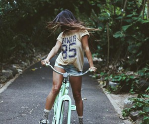 girl, photography, and bicycle image