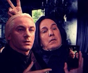 harry potter, snape, and lucius malfoy image