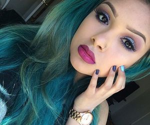 accessories, colored hair, and make up image