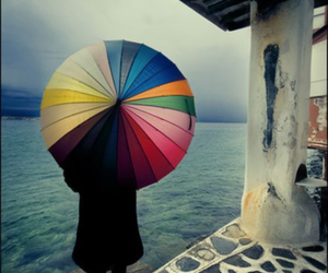 umbrella, photography, and rainbow image
