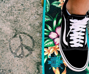 vans, peace, and flowers image