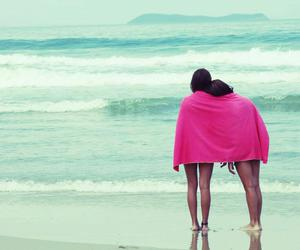 pink, friends, and beach image