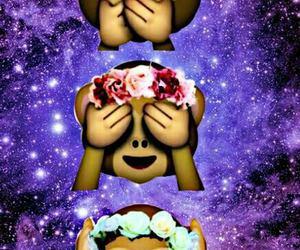 monkey, emoji, and galaxy image