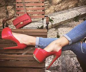 jeans, red, and style image