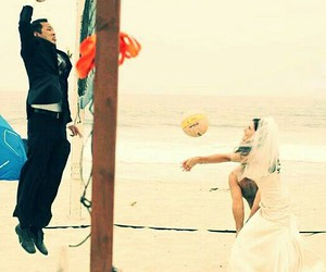 beaches, just married, and volleyball image