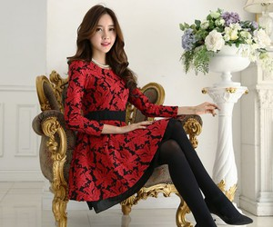 yrb, long sleeve dress, and black and red dress image