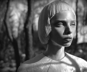 blonde, girl, and blak&white image