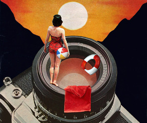 art, Collage, and sunset image