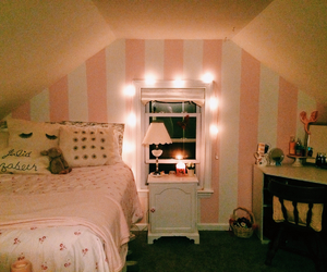 bedroom, candy stripes, and girly image