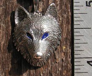 necklace, silver, and wolf image