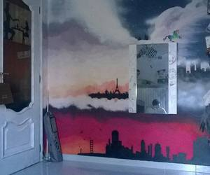 bedroom, city, and paint image