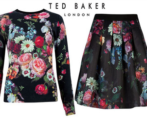 black, flower print, and outfit image