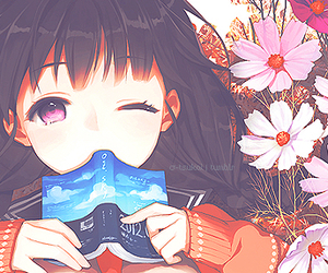 anime, book, and flowers image